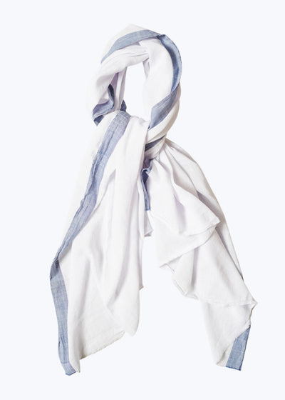 White/Chambray Sari Fragment Scarf