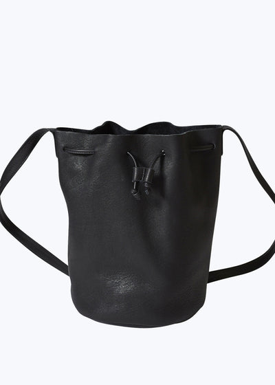 Black Leather Drawstring Purse