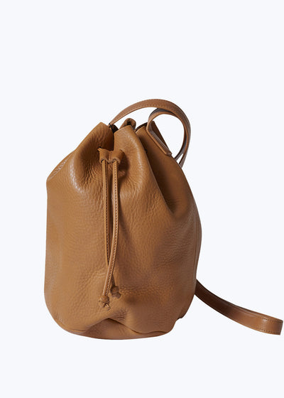 Caramel Leather Drawstring Purse
