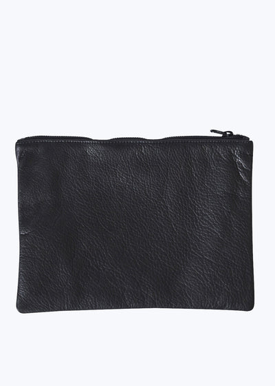Black Leather Medium Flat Pouch