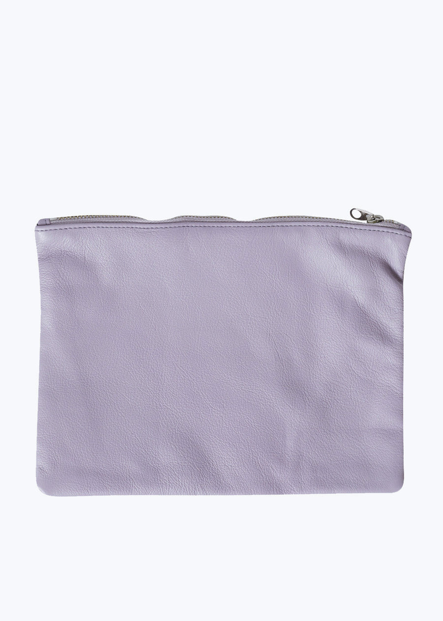 Lavender Leather Medium Flat Pouch
