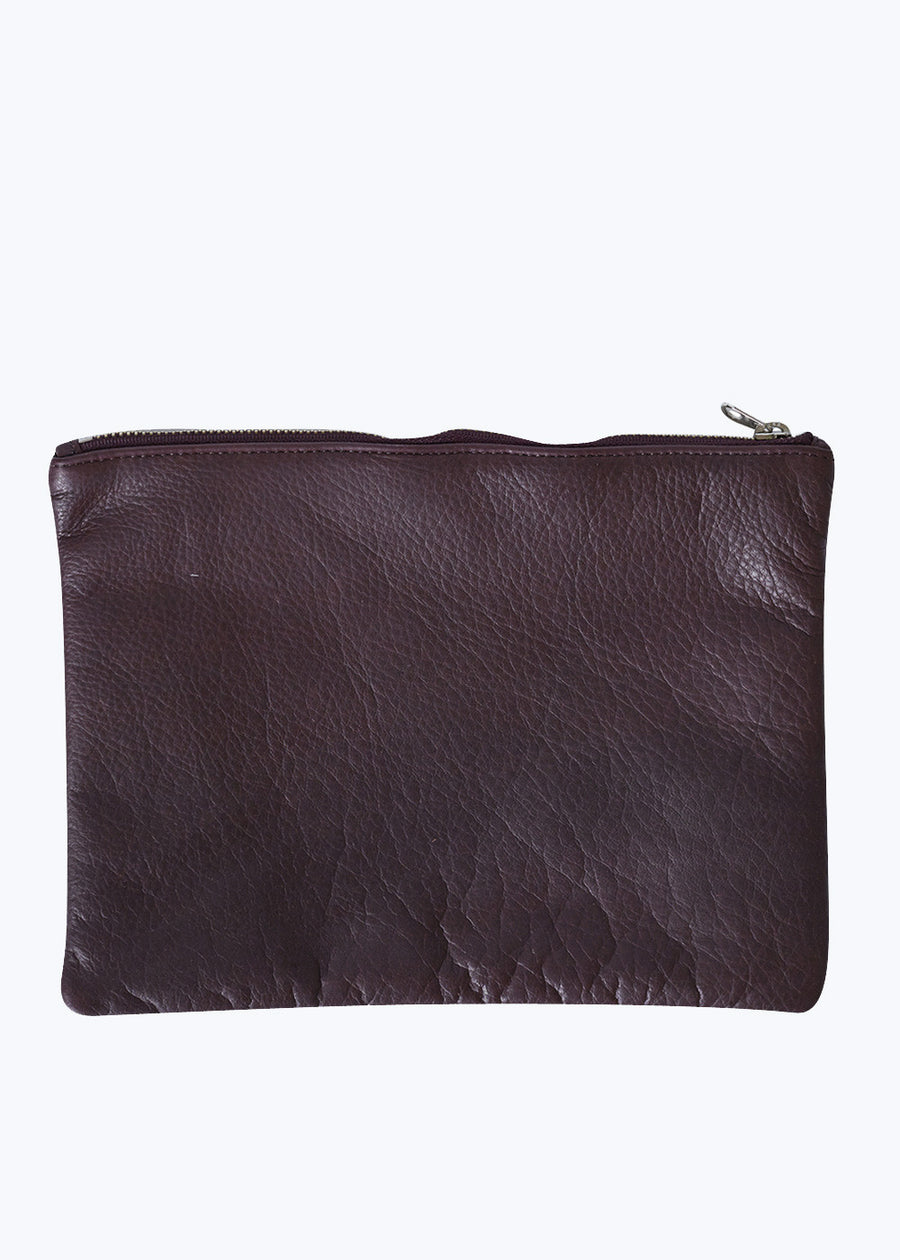Oxblood Leather Medium Flat Pouch