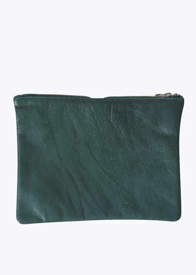 Pine Leather Medium Flat Pouch