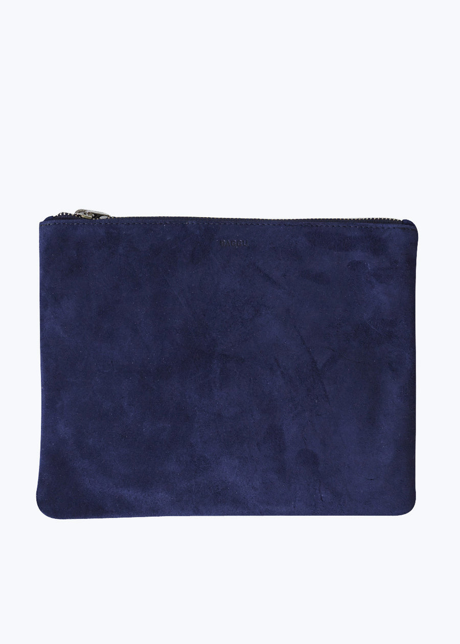 Midnight Suede Medium Flat Pouch