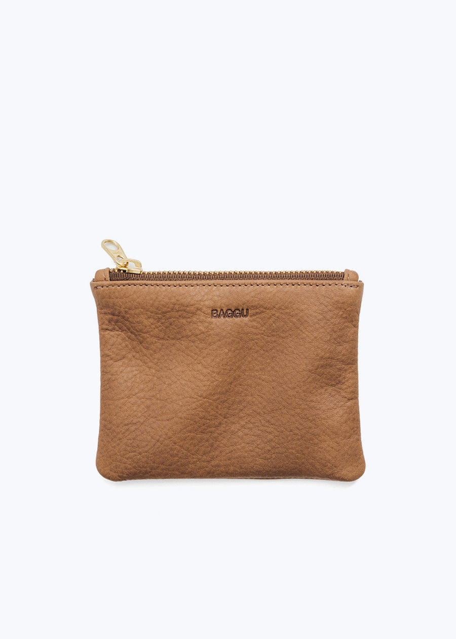 Pine Leather Small Flat Pouch