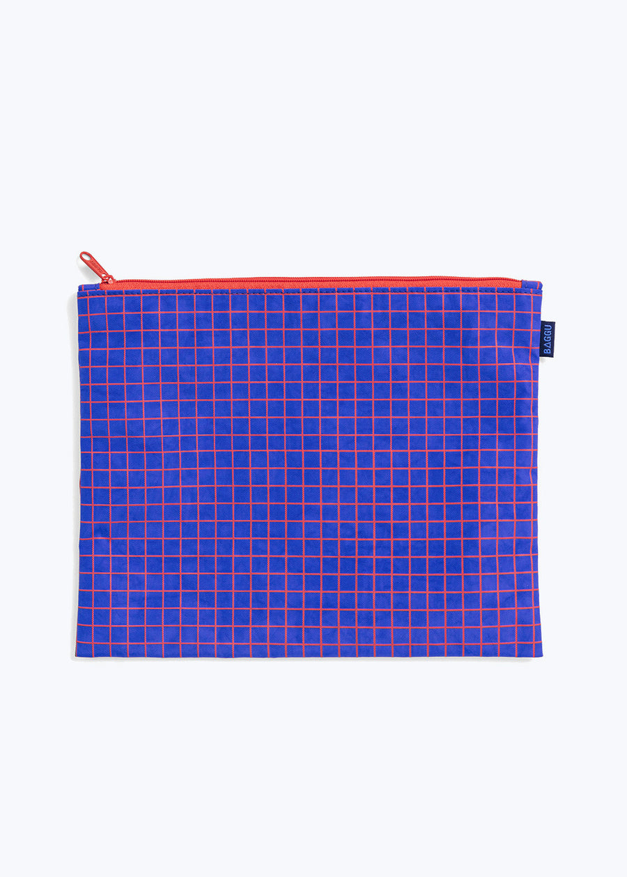 Grid Medium Flat Zip Pouch