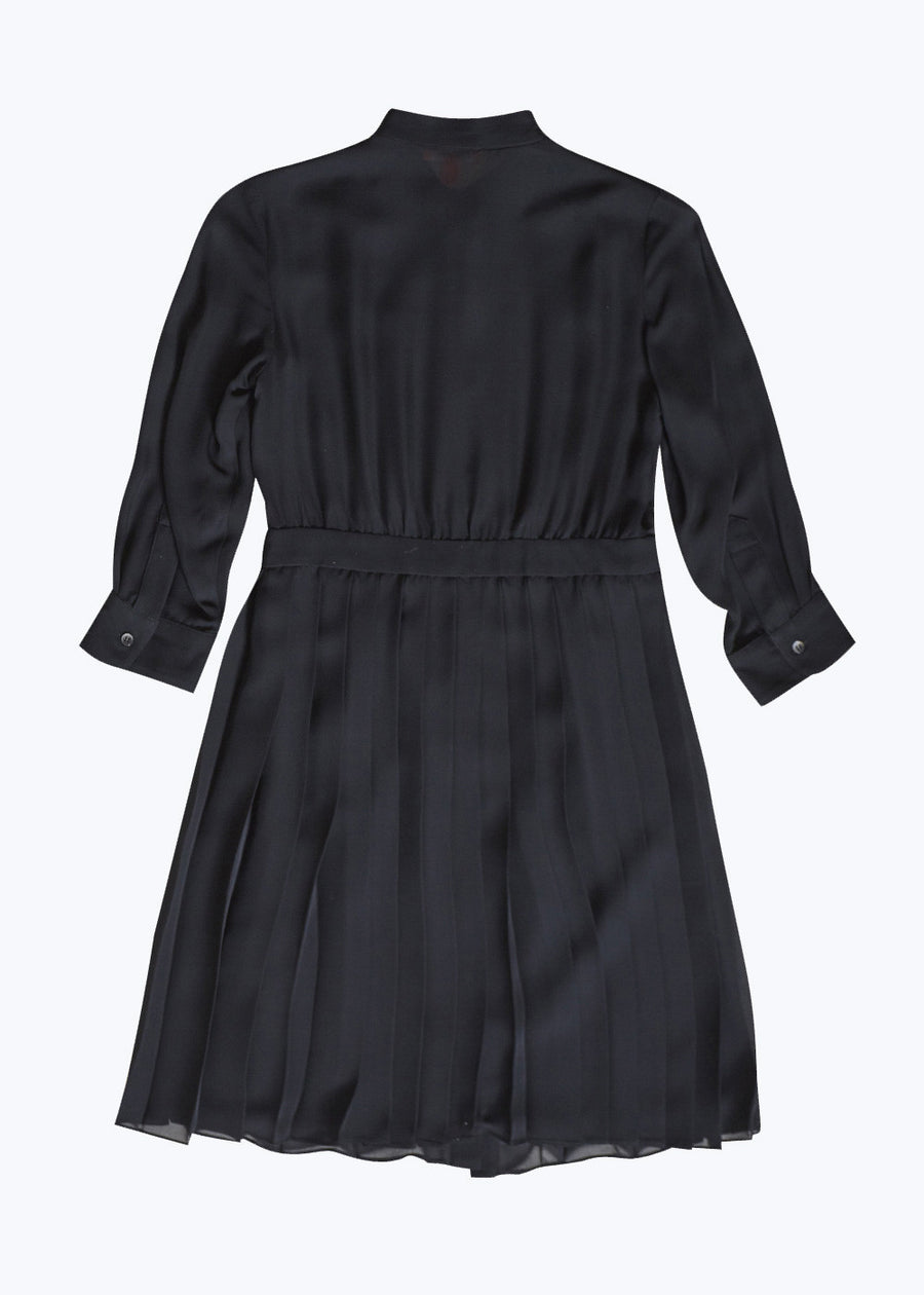 Black Silk Pleated Dress-6 (Last One)