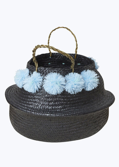 Black/Blue Venice Pom Pom Basket