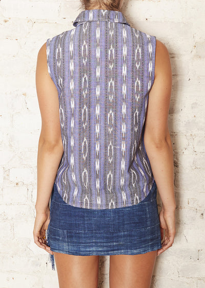 Purple Ikat S/L Button Down Shirt (X-Small- Last One)