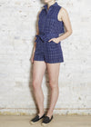 Navy Grid Gathered Back Shorts Jumper