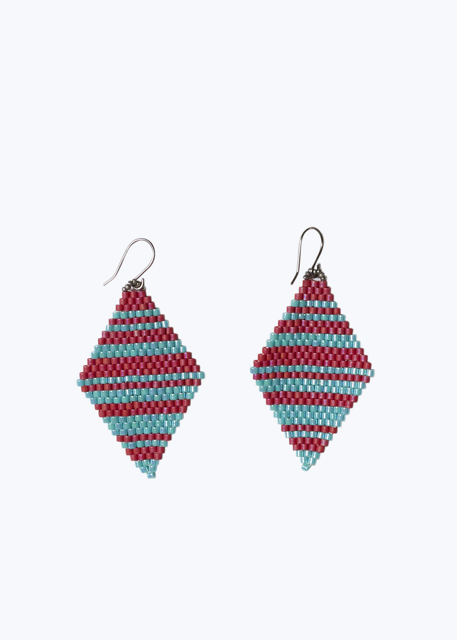 Red/Turquoise Diamond Drop Earring
