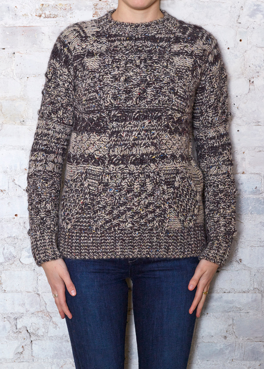 Brown/Ecru Cable Sweater
