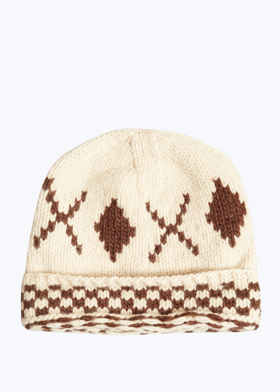 Nat/Brown Black Knit Hat- O/S
