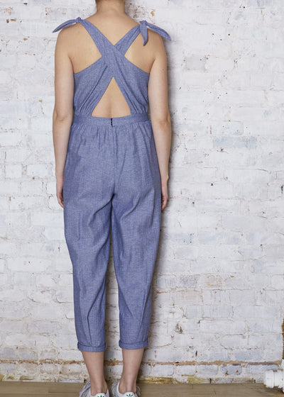 Herringbone Chambray Cross Back Jumper