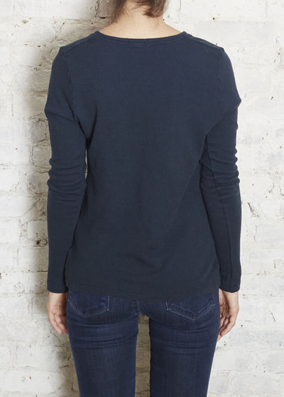 Navy Selma Thermal Henley L/S Tee-  Small (Last One)