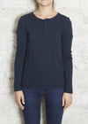 Navy Selma Thermal Henley L/S Tee-  Small