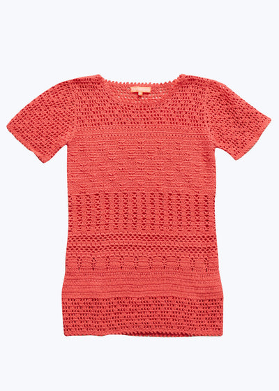 Coral Crochet Sweater Tee