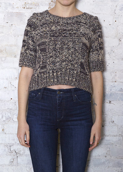 Brown/Ecru Cropped Sweater-Small