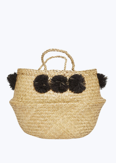 Black Venice Pom Pom Basket-Medium