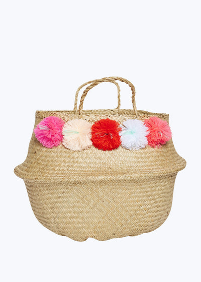 Pinks Venice Pompom Basket-Large