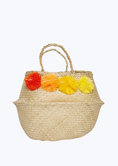 Red/Yellow Venice Pompom Basket-Medium