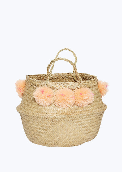 Peach Venice Pompom Basket-Medium