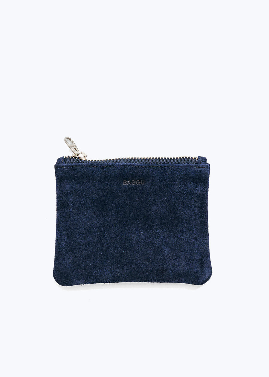 Midnight Suede Small Flat Pouch