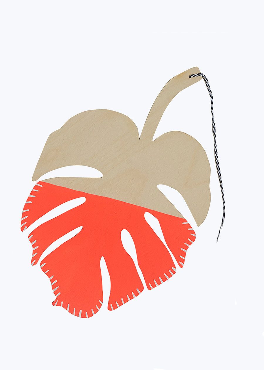 Neon Red Monstera Leaf Wall Charm