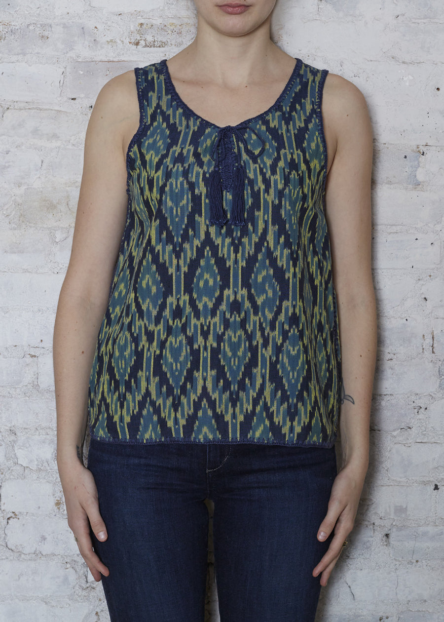 Black Ikat Stitch Top