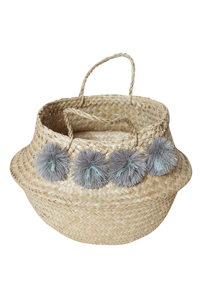 Gray Venice Pompom Basket-Medium