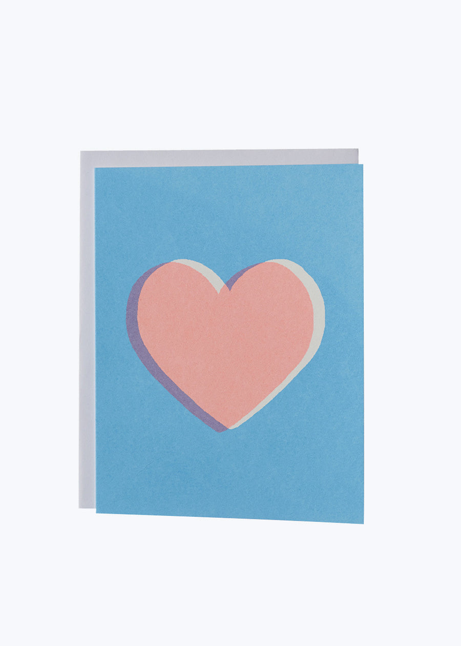 Pink Heart Blue Card