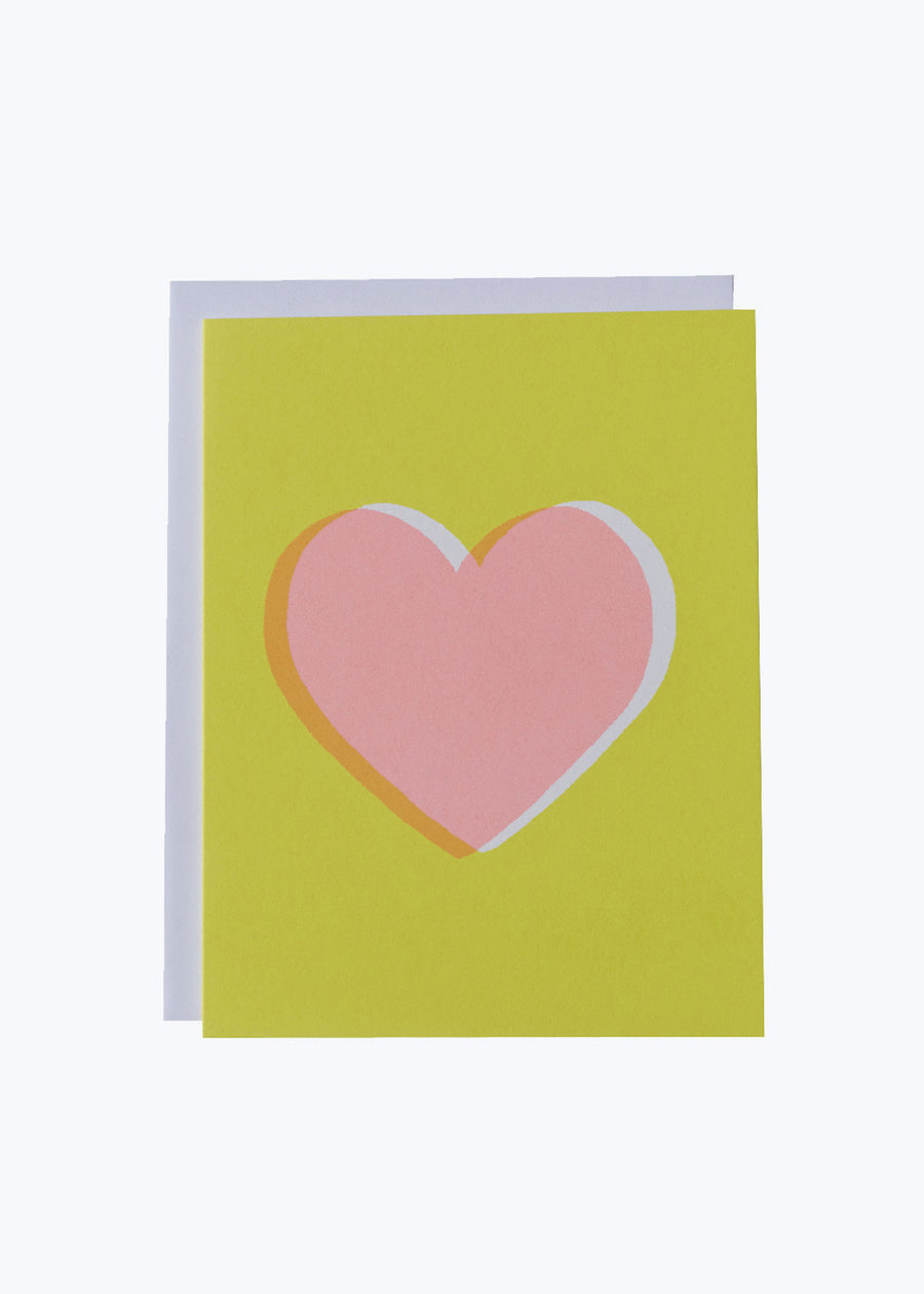Pink Heart Yellow Card