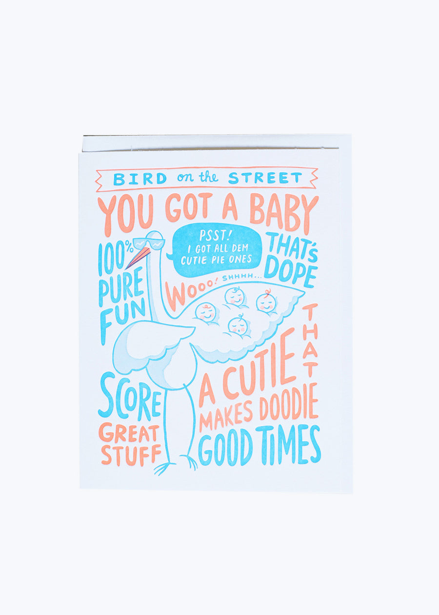 Bird On The Street Baby Card