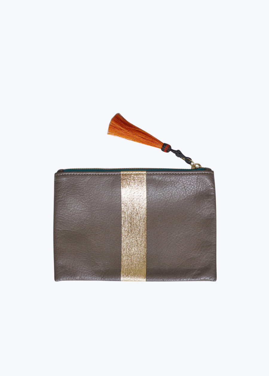 Truffle/Gold Small Tassel Pouch