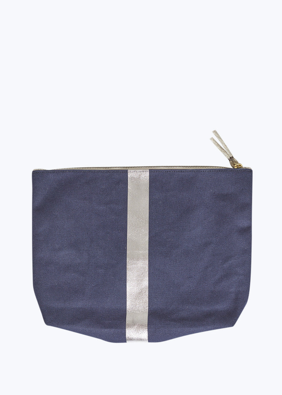 Navy/Silver Metallic Stripe Beach Pouch