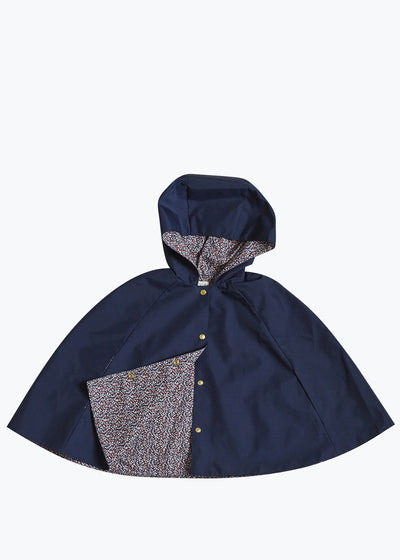 Navy/Floral Kids Reversible Rain Cape
