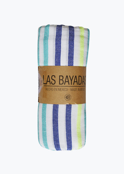 Navy/Pool Stripe Beach Blanket