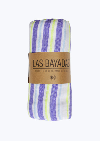 Violet/Neon Yellow Stripe Beach Blanket