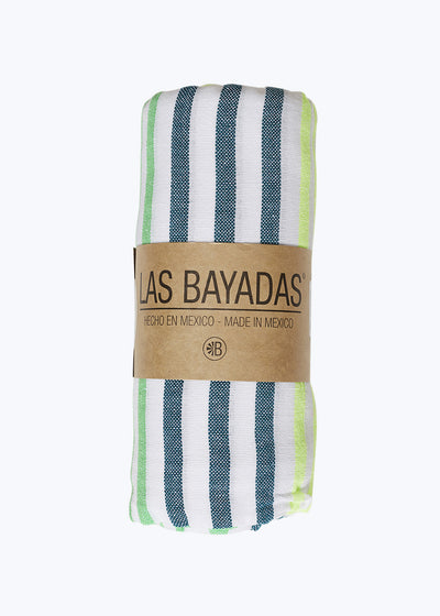 Multi Green Stripe Beach Blanket