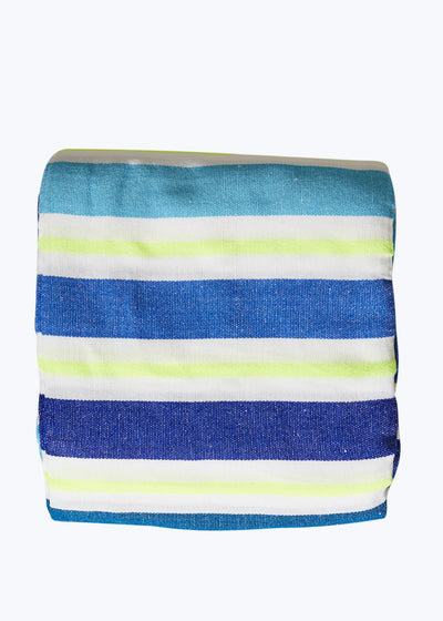 Wide Blue Stripe Beach Blanket