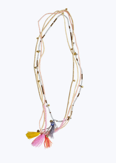 Natural/Pink Mixed Bead Tassel Necklace