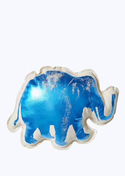 Lucky Elephant Blue Foil Pillow