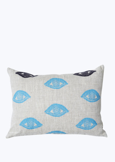 Oatmeal Linen w/ Blue Eyes Pillow