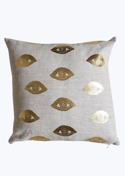 Gold Foil Linen Eye See You Pillow