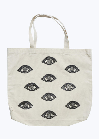 Natural Canvas Bag w/ Black Foil Eyes