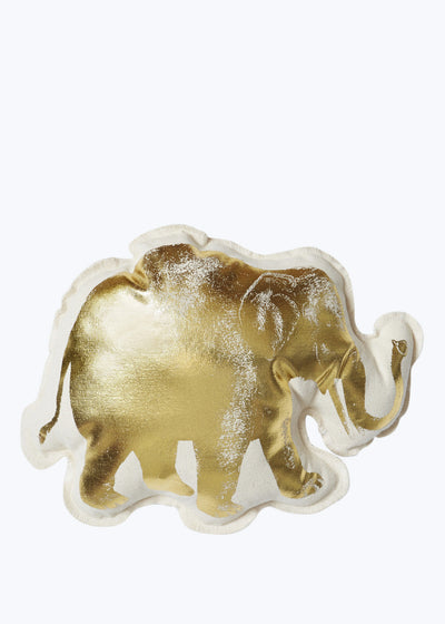 Lucky Elephant Gold Foil Pillow