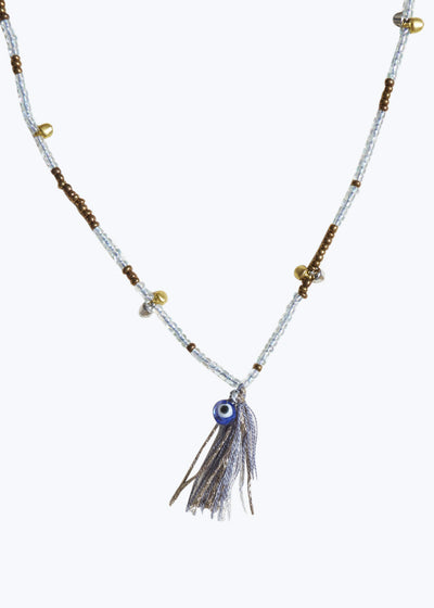 Clear/Brass Mixed Bead Tassel Necklace