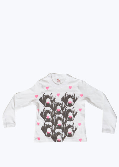 White Kids I Heart Doggies L/S Tee