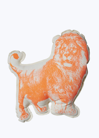 Orange Lion Rising Pillow