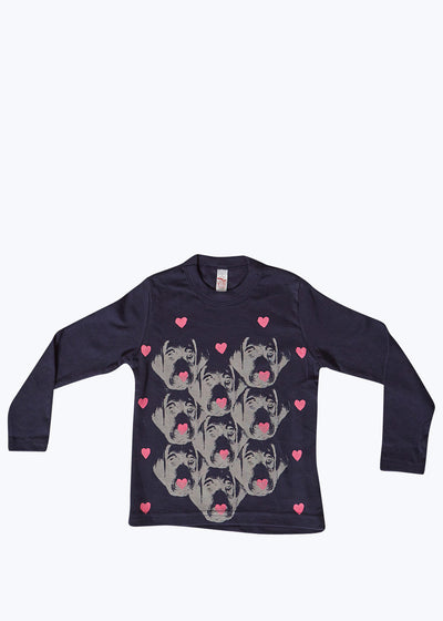 Navy Kids I Heart Doggies L/S Tee